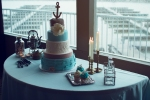 Lasting Events- blue and grey sea themed cake table