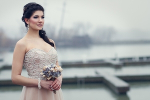 Lasting Events- bride in blush beaded dress and seashell bouquet