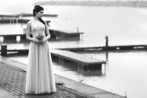 Lasting Events- bride on dock in black and white photo