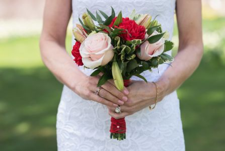 Lasting Events- red and pink bridal bouqet by The Flower House