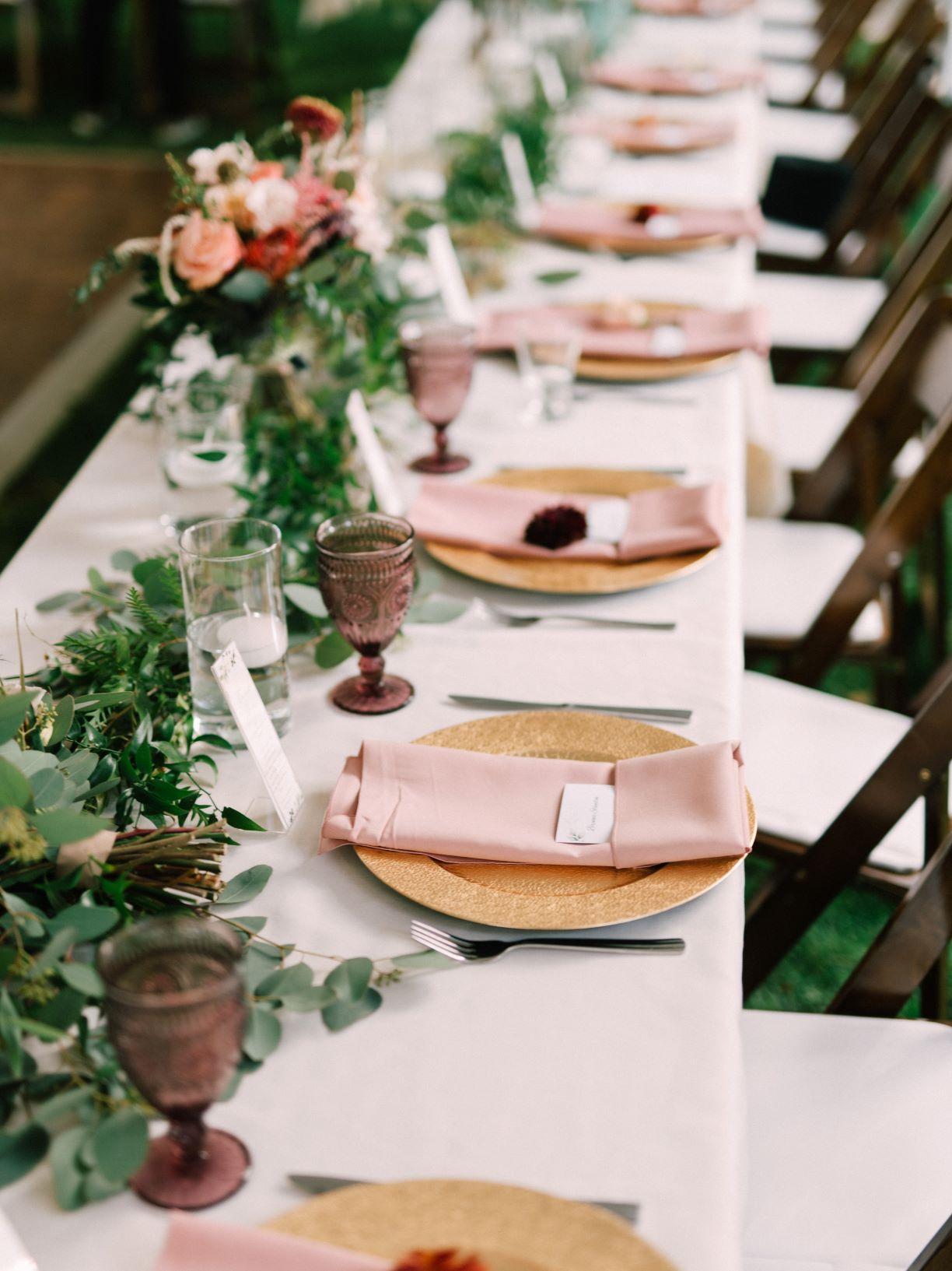 boho wedding head table setting