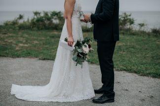 Bride & groom exchange vows at first look