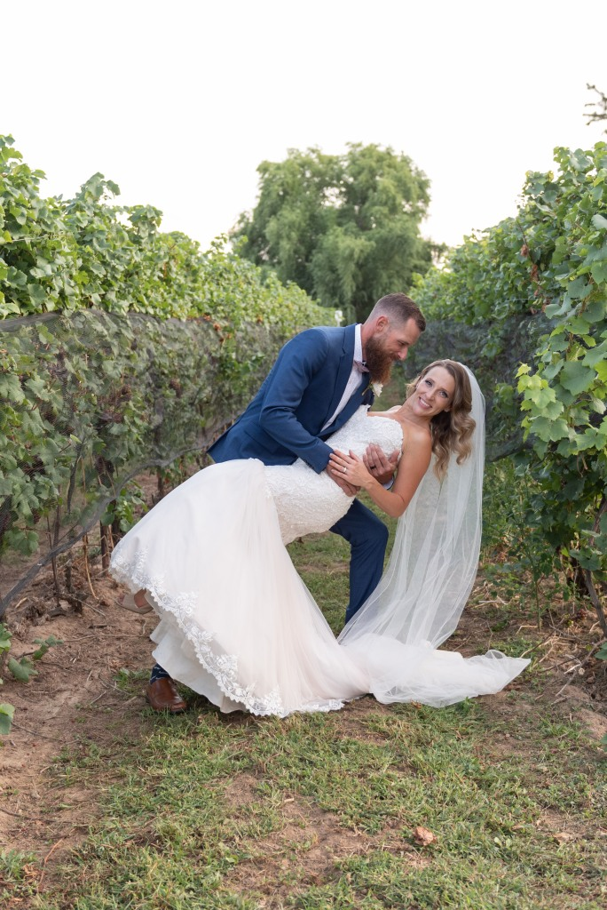 bride and from in vineyard at Stonewall Estates Winery in Niagara