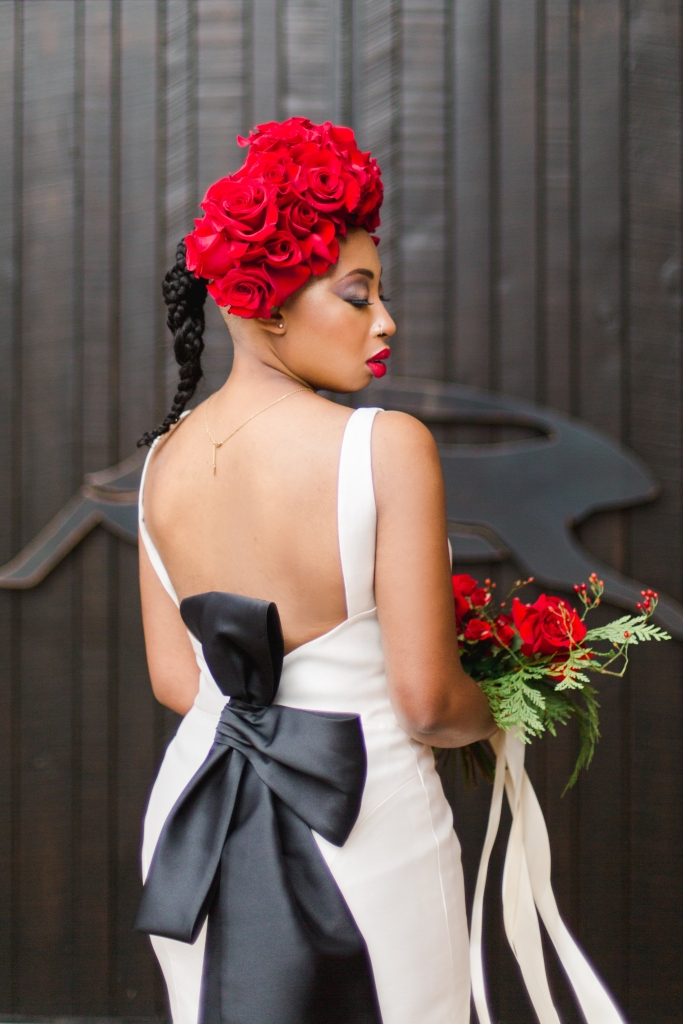 Bride with Rose Flower Crown at Niagara Winery in Niagara-on-the-Lake