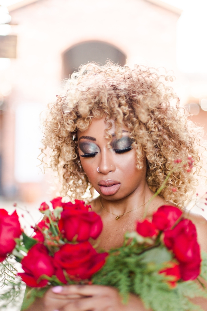 Close up of model makeup by Honor Beauty in Niagara-on-the-Lake