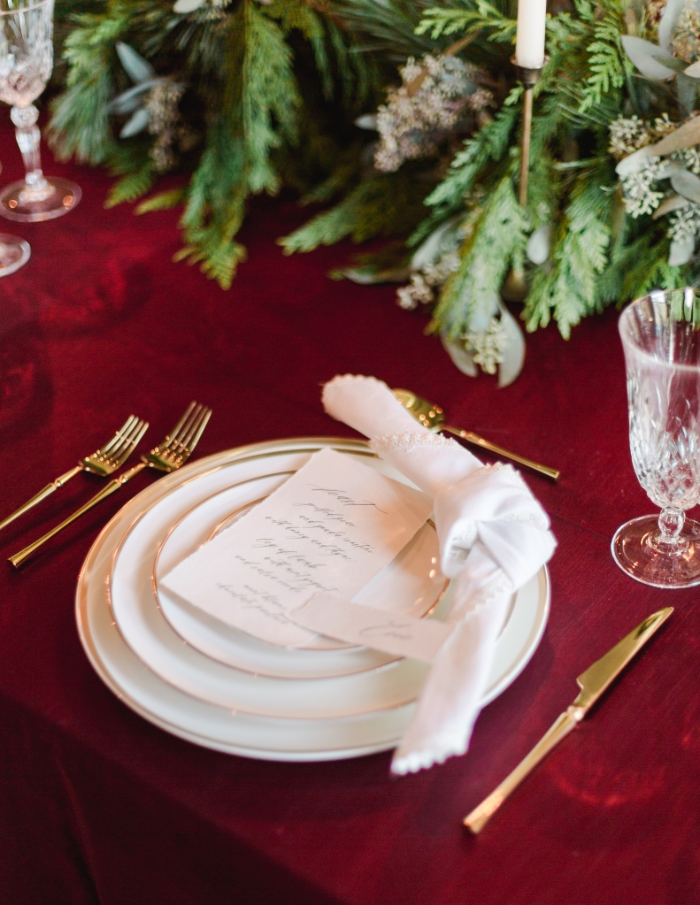 Red and White place setting styled by Niagara Wedding Planner Lasting Events
