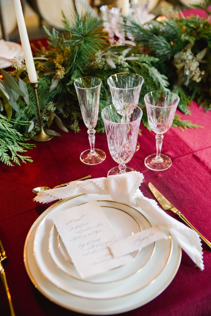 Red and white place setting styled by Lasting Events- Niagara Wedding Planner