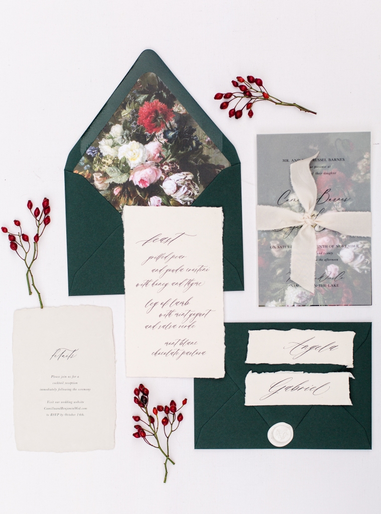 green and white stationery flat lay by StatueRue