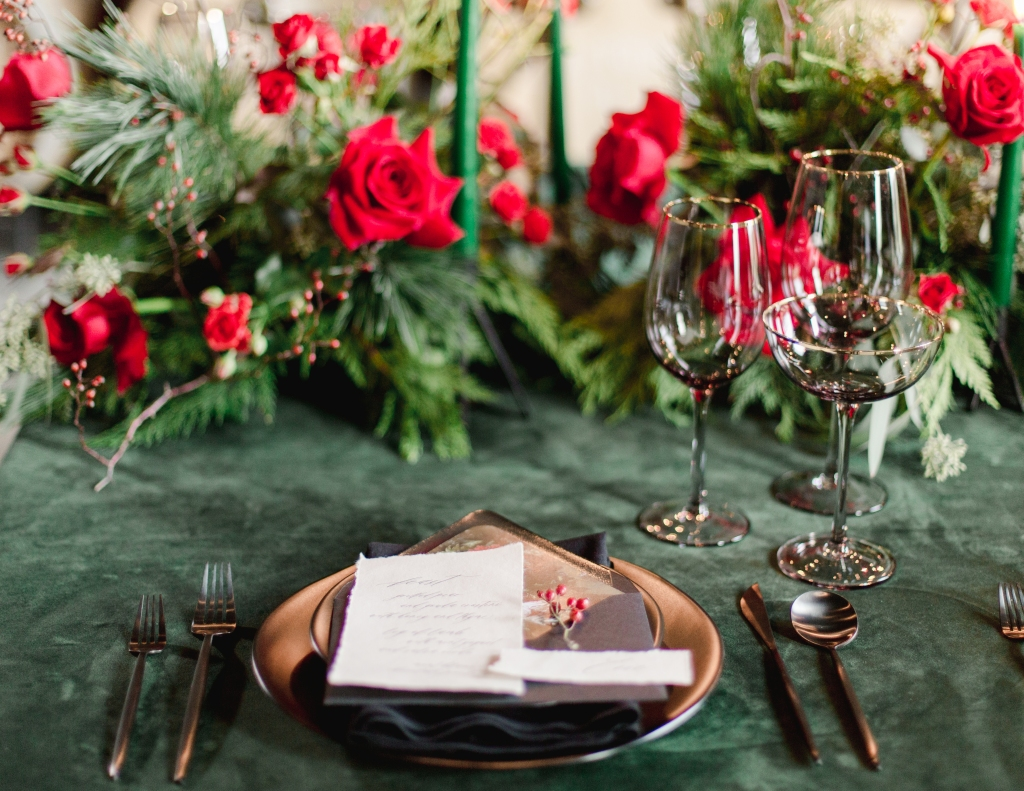Green and Black place setting at The Hare Winery in Niagara-on-the-Lake Designed by Lasting Events, Niagara Wedding Planner