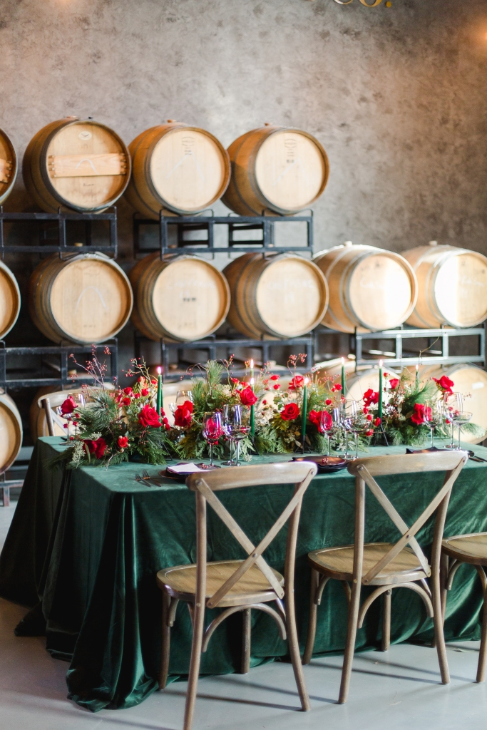 Green and black wedding guest table styled by Lasting Events- Niagara Wedding Planner