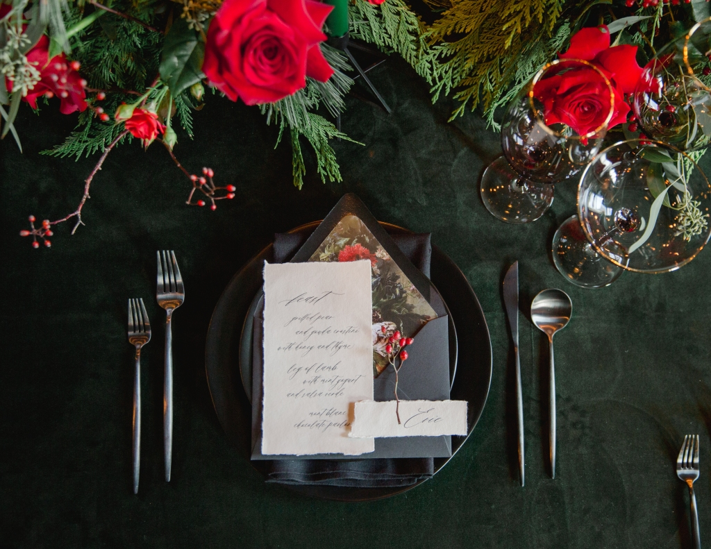 Green and Black place setting designed by Niagara wedding planner Lasting Events