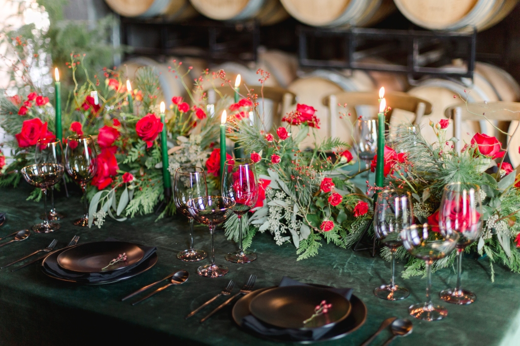 Green, black and red tablescape at The Hare Winery in Niagara-on-the-Lake styled by Niagara Wedding Planner Lasting Events
