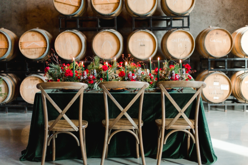 Green and black wedding guest table styled by Lasting Events