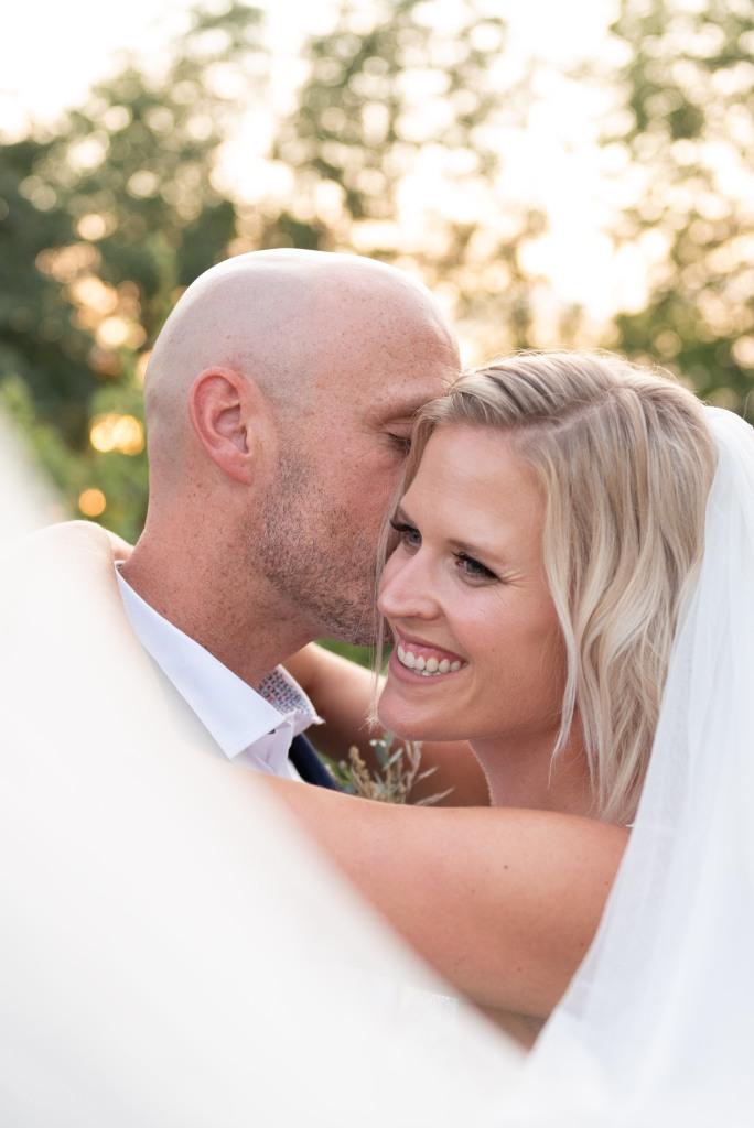 close up of bride and groom at Stonewall Estates in Niagara