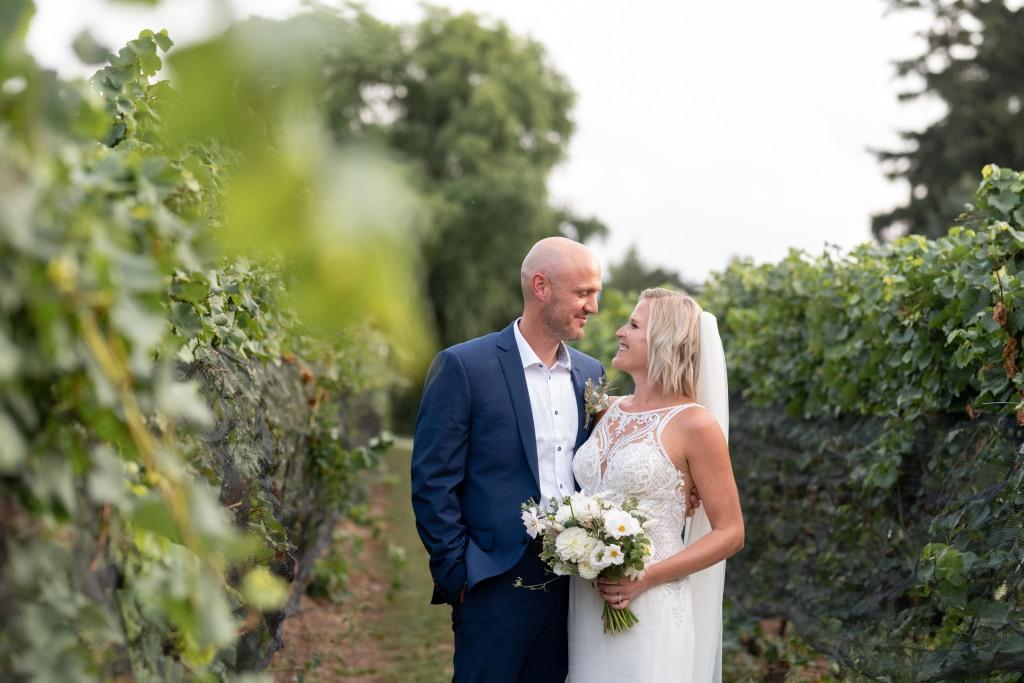 bride and groom in vineyard at Stonewall Estates in Niagara