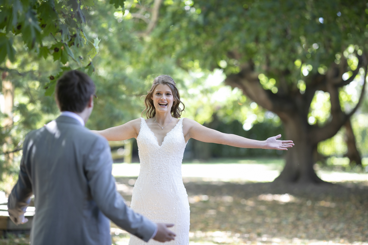 Bride excited at first look
