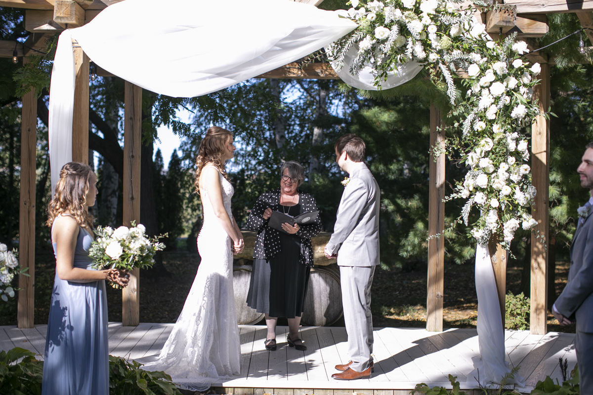 Wedding ceremony at Honsberger Estate