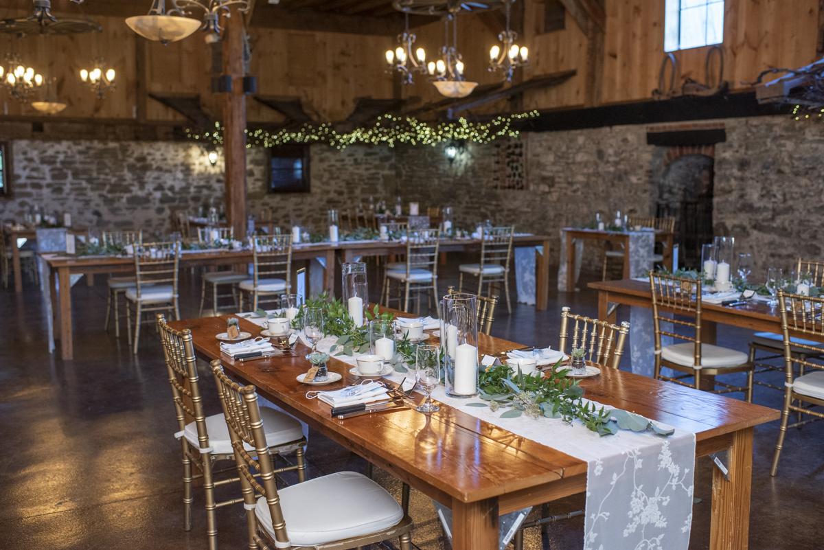 Wedding reception in barn at Honsberger Estate