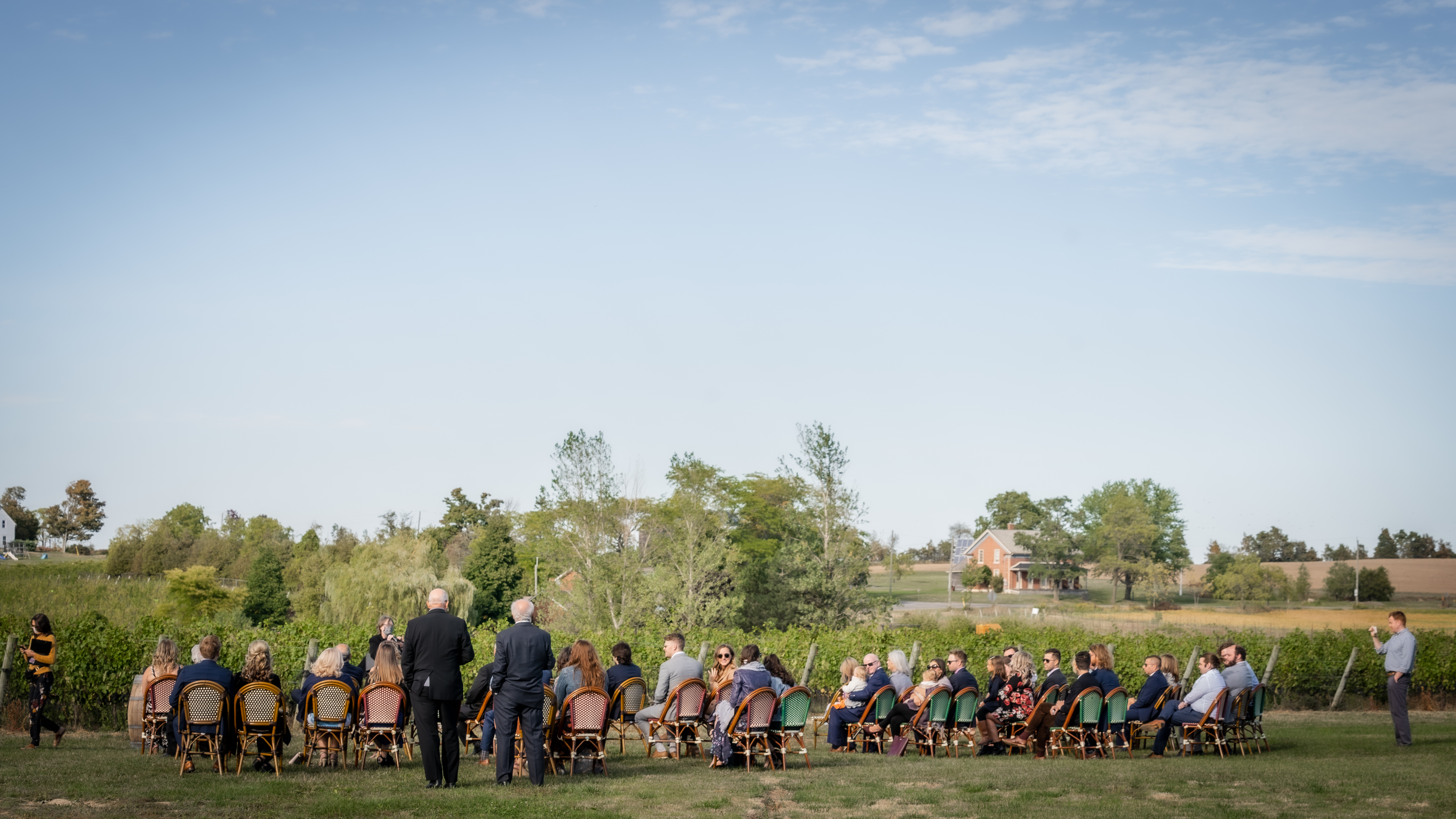 Socially distanced wedding ceremony at London Born Wine Co in Beamsville