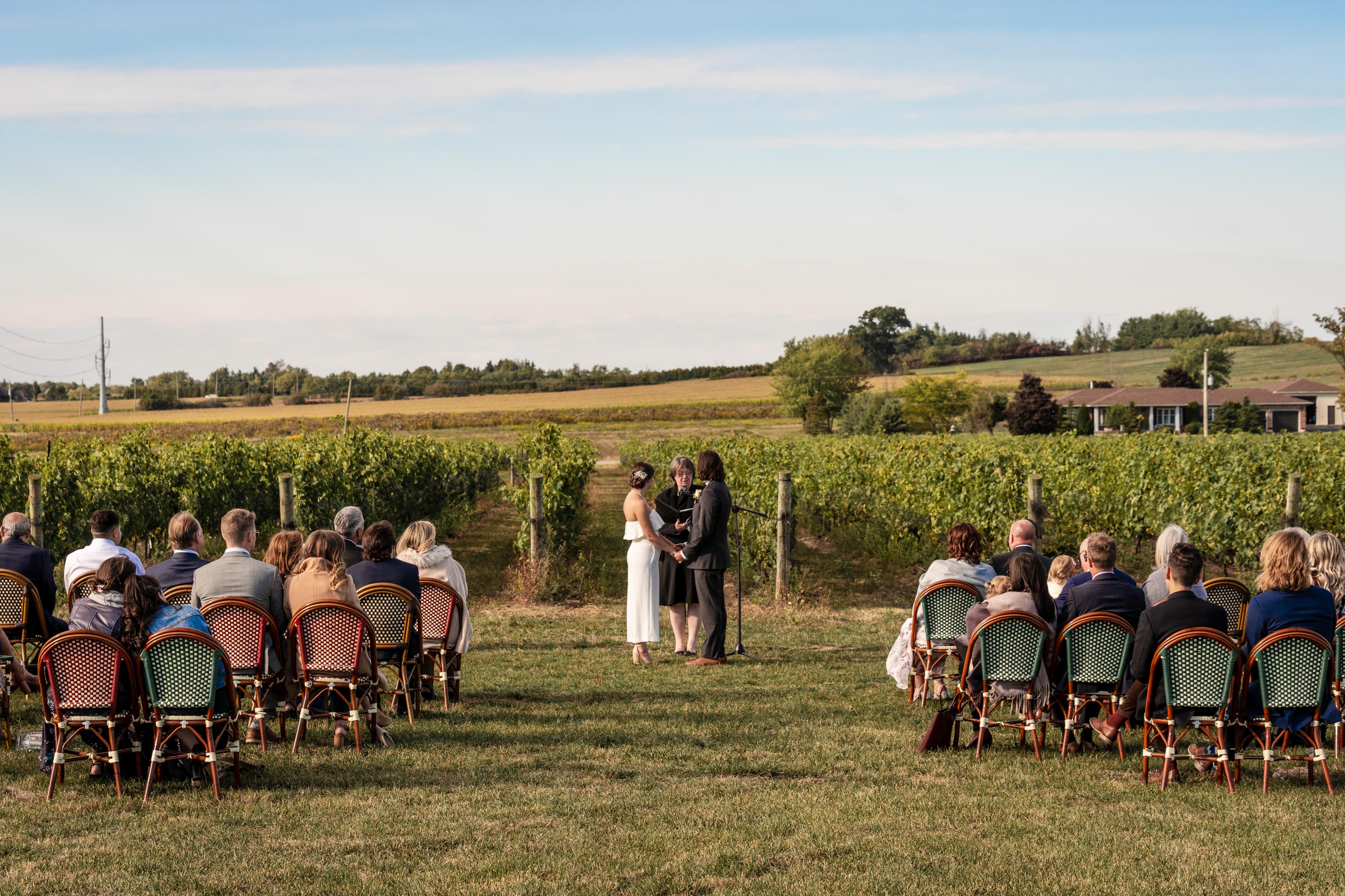 Wedding ceremony at London Born Wine Co