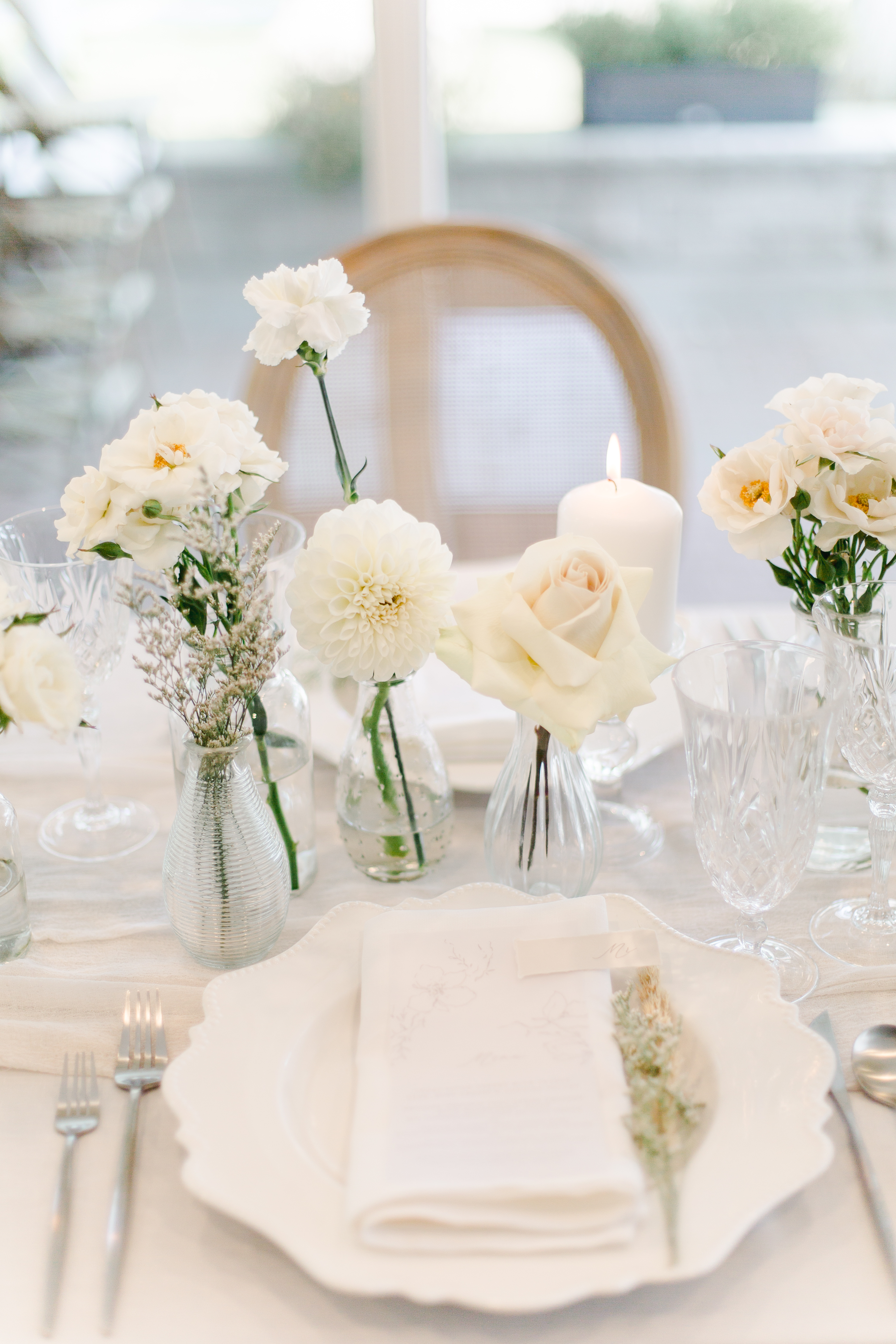 All white place setting for editorial shoot in Niagara-on-the-Lake