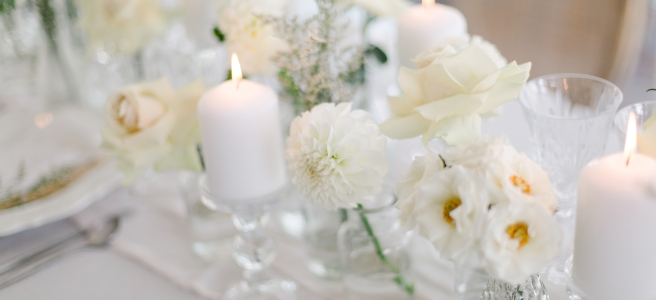 All white floral details on tablescape for editorial shoot in Niagara-on-the-Lake