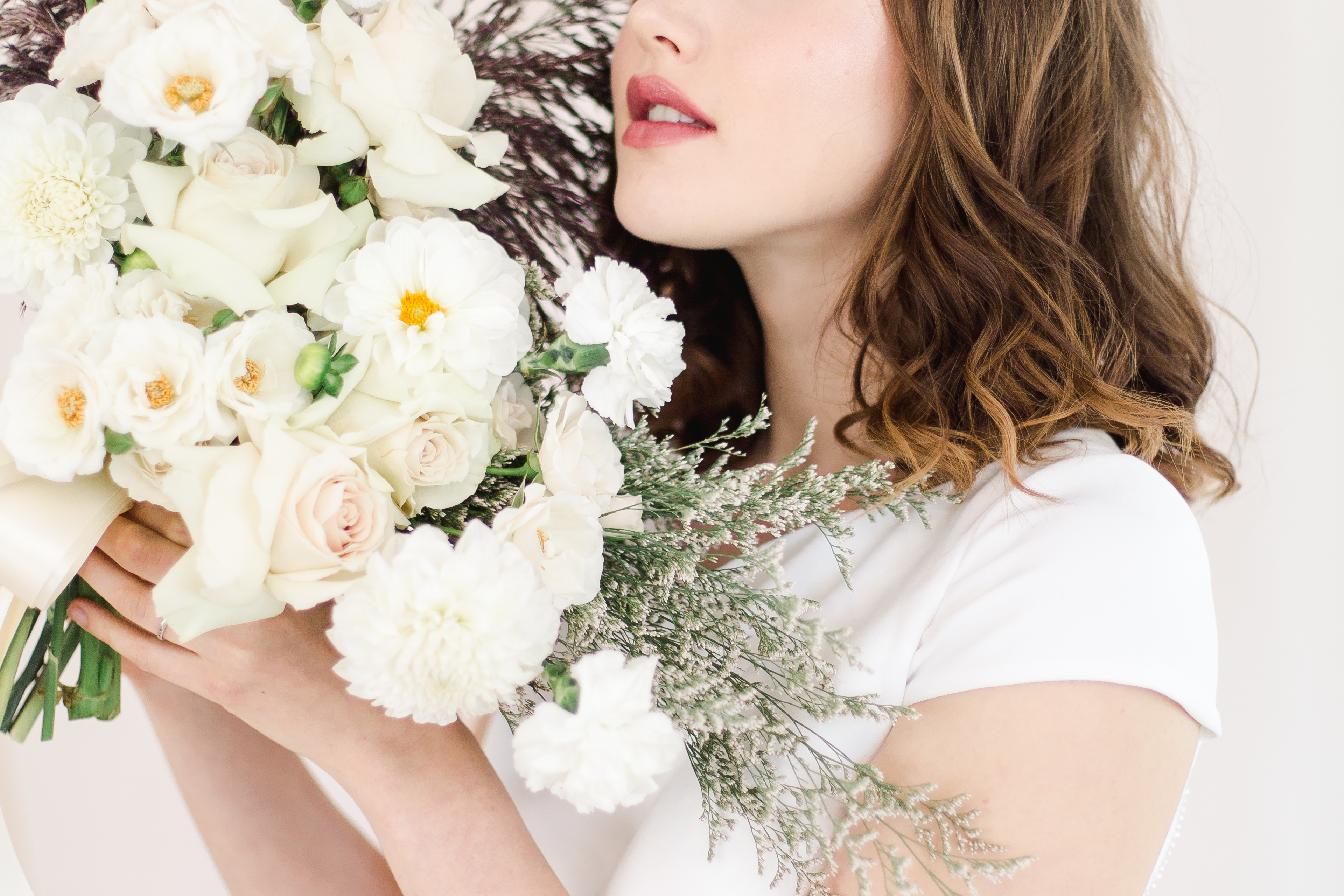 Close up of bride and bouquet